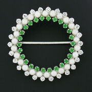 Vintage 14k Or 1.60ct Rond Diamant Andeacutemeraude And Blanc Perle Cercle Couronne Broche