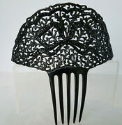 Antique/vintage Black On Black Celluloid And Rhinestones Hair Comb Large Bow Motif