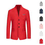 Men's Collarless Single-breasted Office Formal Meeting Party Blazer Jackets Suit
