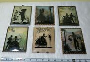 Set Of 6 Convex Bubble Glass Reverse Painted Victorian Silhouette Pictures 30's