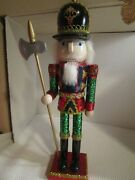 Christmas Wooden Nutcracker Guard With Hatchet Glittered Outfit And Base 15 Tall