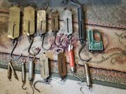 Fourteen Antique Hanging Spring Balance Hand-held Scales Some Rare