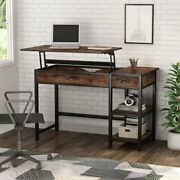 Tribeisgns Standing Desk Storage Shelves And Drawers Lift Top Table Rustic Brown
