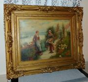 Picking Flowers James T. Breen Antique Signed Oil Painting With Fabulous Frame