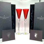 """Waterford Crystal Lismore Jewels Ruby Red Champagne Flutes 12"""" Ornate Stems Nib"""