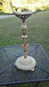 Antique Art Deco Gold Tone Metal Architectural Ashtray Stand 25x11 Inches