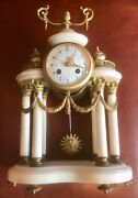 Antique French Samuel Marti Marble And Ormulo Clock With Matching Candelabras