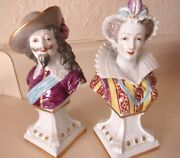 Pair 19th C Antique Signed Capodimonte Fine Porcelain Man And Woman Bust Figurines