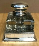 Antique Crystal And Sterling Silver Bailey Banks And Biddle Co. Inkwell 4.5 Tall