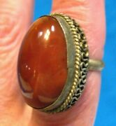 Antique Sterling Silver Large Carnelian Ring Size 6.75 9.9 Grams