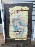 Antique Olympia Beer Capital Brewing Advertising Wood Slat Bar Sign Gypsy Pin Up