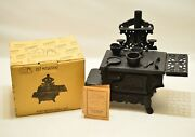 Used Old Mountain Cast Iron Mini Wood Stove Set With Box Might Be Missing Parts