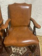 Vintage Leather Club Chairs Nailhead Trim Office Furniture Conference Study