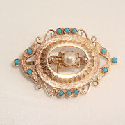 Antique Pearl And 1ct Torquise 14k Yellow Gold Brooch Pendant Fine Jewelry