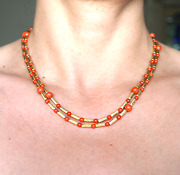 David Yurman 18k Gold Natural Red Coral Double Strand Necklace Fine Jewelry