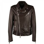 Dolce And Gabbana Biker Nappa Leather Jacket With Pockets Logo Brown 09722