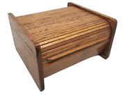 Vintage Solid Dark Oak Hand Made Wooden Roll Top Bread Box Great Condition