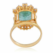 Emerald Gemstone Ring Si Clarity H-i Color 14k Yellow Gold Jewelry