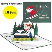 3d Pop Up Greeting Cards 10 Pc Christmas Seasonal New Year Family Pack New Gifts