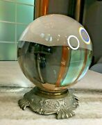 Massive 8 Antique Crystal Ball W/ornate Brass Victorian Finely Cast Stand