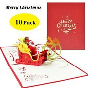 3d Pop Up Greeting Cards 10 Pc Pack Merry Christmas Seasonal New Year Envelope