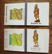 Indian On Matchbox Covers Tobacco Co. Restaurant Richmond Va And Tampa Fl -f16