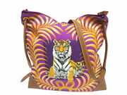 Hermes Silky Citypm Kingand039s Tiger Tigre Royal Silk Leather Purple Brown Gold