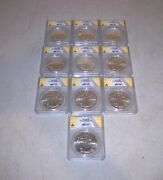 Lot Of 10 American Ms Silver Eagle Dollars Graded By Anacs Various Dates
