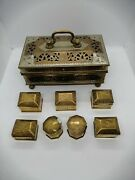 Vintage Victorian 50s Copper/brass/tin Jewelry/sewing/trinket Box 1+7mini Boxes