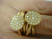 18k Gold And 1.20ct T.w. Vs Clarity Diamonds 13.4 Grams Wide Multi Bands Ring