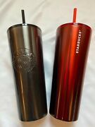 2 X Starbucks 2020 Red And Black Glitter Tumbler Stainless Steel Cold Cup 24oz New