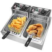 Electric Deep Fryer 12.7qt/12l Bench Top Fast Fryer With Oil Filtration 2 Tank