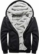 Machlab Menand039s Pullover Winter Workout Fleece Hoodie Jackets Full Zip Wool Warm T