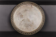Antique 800er Half Moon And Crown Silver Platter Tray 1269 Grams