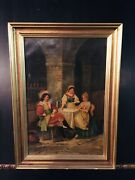 Oil Painting 2 Ladies Und Ein Man Playing Cards Signed Cb Mussard Fine Painting