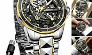 Oupinke Skeleton Watches Mens Automatic Mechanical Self Black And Gold Dial