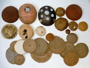 Antique Vintage Lot Of Doll Pates Pate Composition Coconut Metal And Card P1632