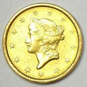 1851 Liberty Gold Dollar G1 - Choice Au / Unc Ms Details - Rare Early Coin