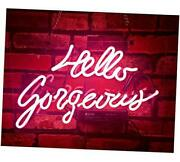 Pink Hello Gorgeous Neon Sign Man Cave Room Decor Neon Lights Love Gifts Real