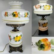 Vintage 25 Dbl Globe Hurricane Parlor Lamp Hand Painted 3-way Gone W/ The Wind
