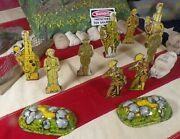 Lot Of 9 Marx Soldiers Of Fortune Infantry Artillery Cavalry Tin Litho Toys