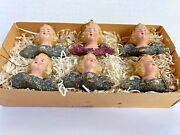 Lot Of 6 Antique Angel Head Christmas Tree Ornaments With Mica Glitter Wings Box