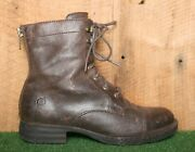Born And039kelisaand039 Brown Leather Plaid Lined Combat Boots Womenand039s Sz. 8.5 M