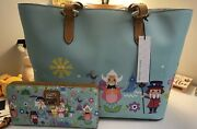 Disney Dooney And Bourke Itand039s A Small World Tote And Wallet Nwt Rare Htf
