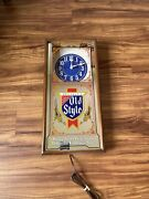 Vintage Heilemanand039s Old Style Beer Illuminated Hanging Wall Clock