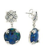 Nwt Stephen Dweck Made In India Sterling Silver Azurite And Malachite Earrings