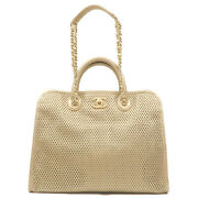 Auth Coco Mark Mesh Leather 2way Bag Hand Bag Champagne Gold Used F/s