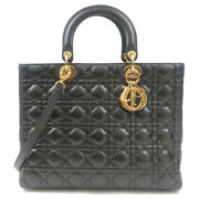 Authentic Christian Dior Cannage Lady Dior Large Leather Hand Bag Black Used F/s