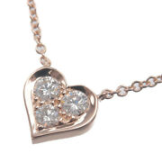 Authentic Tiffanyandco. Sentimental Heart 3p Diamond Necklace Rose Gold Used F/s