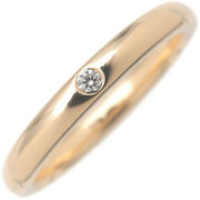 Authentic Tiffanyandco. Stacking Band Ring 1p Diamond K18 Yellow Gold Us6 Used F/s